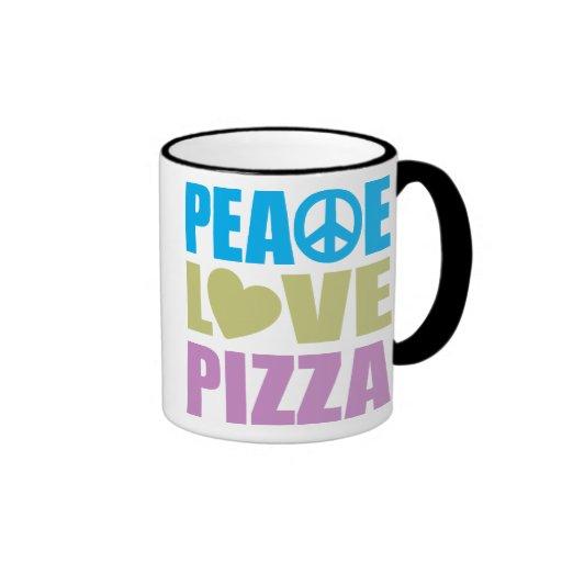 Pizza del amor de la paz taza a dos colores
