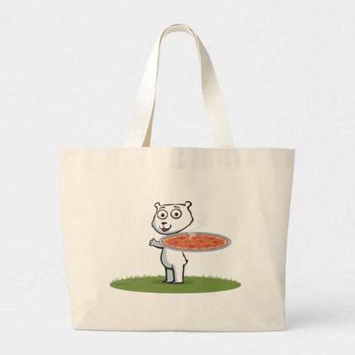 Pizza del oso polar bolsas de mano