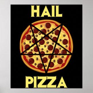 Pizza del saludo póster