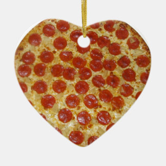 Pizza...Delicious Pepperoni Pizza Double-Sided Heart Ceramic Christmas Ornament