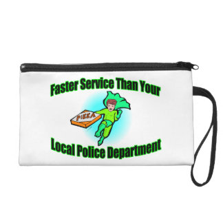 Pizza Delivery Faster Than Police Wristlet Purse