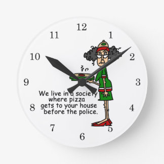 Pizza Delivery Humor Round Wallclock