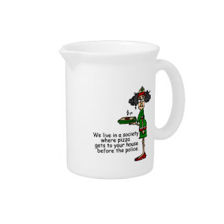 Pizza Delivery Humor Drink Pitcher