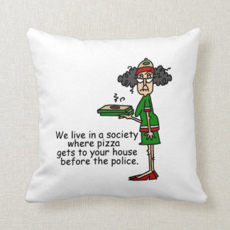 Pizza Delivery Humor Throw Pillow