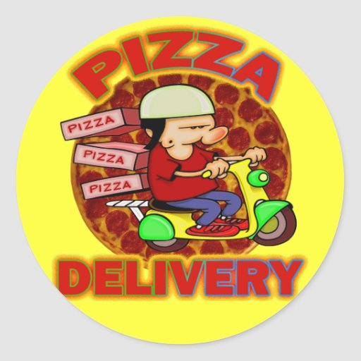 Pizza Delivery Round Stickers