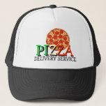 "Pizza Delivery Service Trucker Hat<br><div class=""desc"">Pizza Delivery Service Hat/ Cap. Amaze your friends with this cool pizza pepperoni trucker hat! This great tasty pizza cap is fully customizable, change text &quot;Delivery Service&quot; and add your texts and images! A great gift cap for a pizza fans, pizza restaurants, pizza delivery services, pizza loving friend or family...</div>"