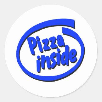 Pizza dentro pegatinas redondas