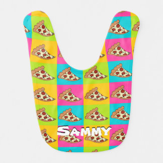 Pizza design baby bib