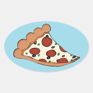 Pizza design oval sticker