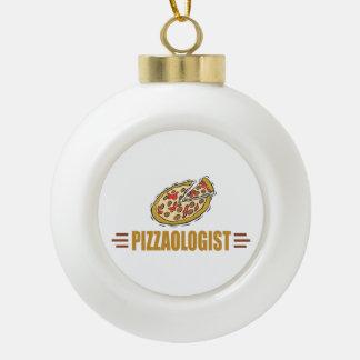 Pizza divertida adorno de cerámica en forma de bola