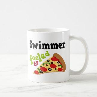 Pizza (divertida) del nadador tazas de café