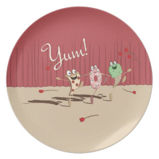 Pizza, Donut, and Ice Cream Dancing Plate.  Yum! Melamine Plate