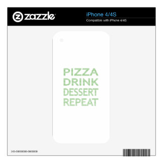 PIZZA DRINK DESSERT REPEAT  - strips - blue Decals For The iPhone 4