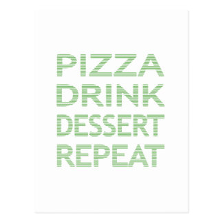 PIZZA DRINK DESSERT REPEAT  - strips - blue Postcard