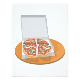 """pizza en caja de la entrega invitación 4.25"""" x 5.5"""""""