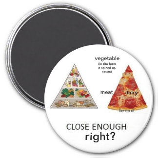 pizza food pyramid 3 inch round magnet