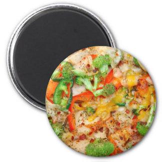 Pizza gastrónoma del Veggie Imán Redondo 5 Cm