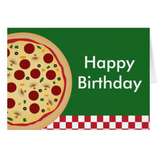 Pizza Happy Birthday Party Greeting Card