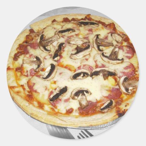 Pizza hecha en casa etiqueta redonda