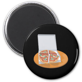 pizza in delivery box 2 inch round magnet
