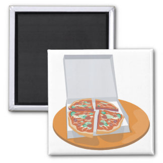 pizza in delivery box 2 inch square magnet