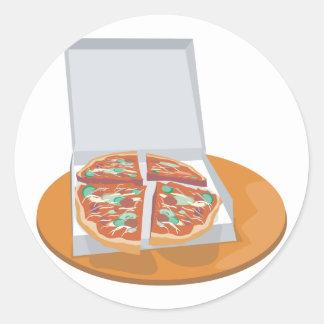 pizza in delivery box classic round sticker