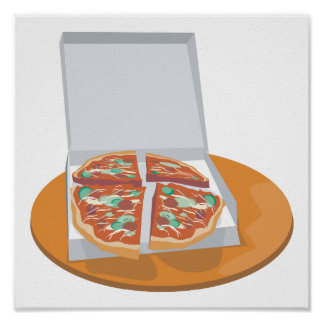 pizza in delivery box poster