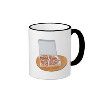 pizza in delivery box ringer coffee mug