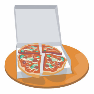 pizza in delivery box standing photo sculpture