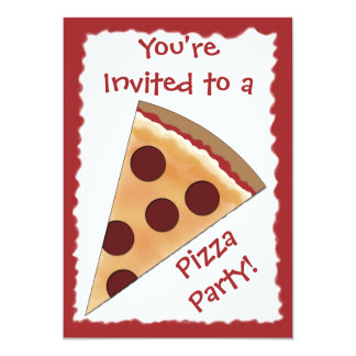Pizza Invitation with Pepperoni Pizza Slice