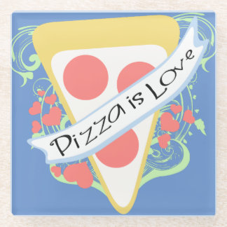 Pizza is Love Glass Coaster