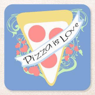 Pizza is Love Square Paper Coaster
