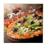 Pizza italiana fresca azulejo cuadrado pequeño