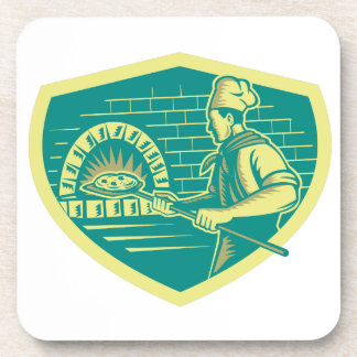 Pizza Maker Holding Peel Crest Woodcut Coaster