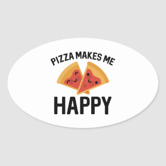 Pizza Makes Me Happy Oval Sticker