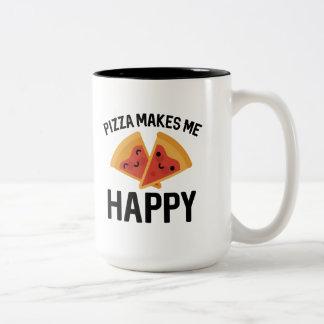 Pizza Makes Me Happy Two-Tone Coffee Mug