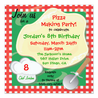 Pizza Making Birthday Party Invitation Card