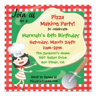"""Pizza Making Birthday Party Invitation Card 5.25"""" Square Invitation Card"""