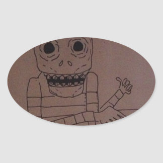 Pizza man oval sticker