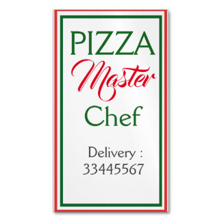 Pizza Master Chef Business Card Magnet