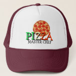 """Pizza Master Chef Trucker Hat<br><div class=""""desc"""">Pizza Master Chef Hat/ Cap. Amaze your friends with this cool pizza pepperoni trucker hat! This great tasty pizza cap is fully customizable, change text &quot;Master Chef&quot; and add your texts and images! A great gift cap for a pizza chefs, pizza restaurants, pizza delivery services, pizza loving friend or family...</div>"""