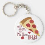 Pizza mi corazón llavero redondo tipo pin