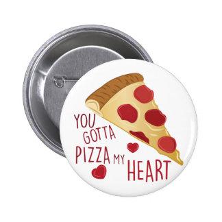 Pizza mi corazón pin redondo 5 cm