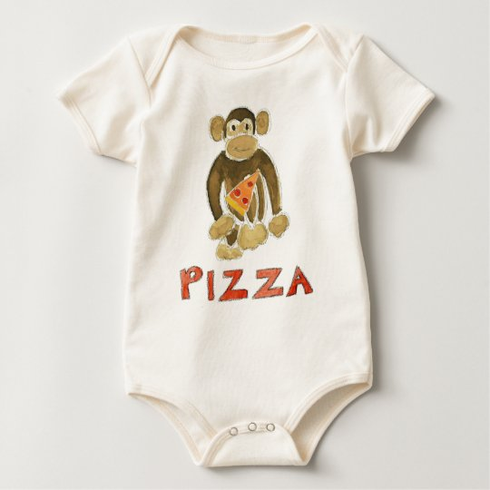 Pizza Monkey Baby Bodysuit