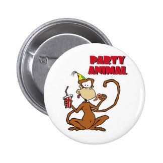 Pizza Monkey Party Animal Pinback Button