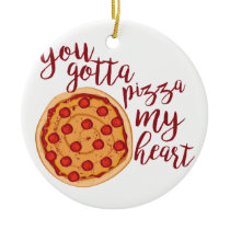 Pizza My Heart Ceramic Ornament