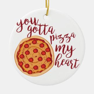 Pizza My Heart Ceramic Ornament
