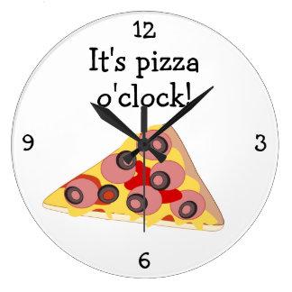 Pizza O'Clock fun food graphic Large Clock