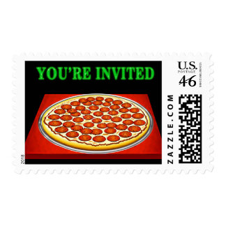 Pizza on Red Box with Big Green Lettering Invited Postage Stamps