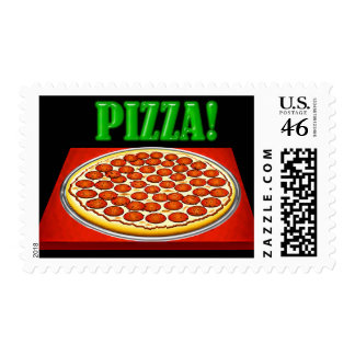 Pizza on Red Box with Big Green Lettering Stamp